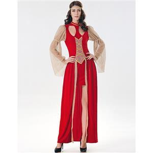 Red Maiden Renaissance Costume, Medieval Costume for Women, Renaissance Beauty Cosplay Costumes, Red Medieval Ladies Halloween Costumes, #N17119