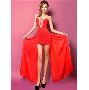 Elegant Red Dress, Lady Sexy Beading Dress, Red Evening Dress, #N7519