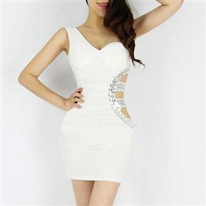 Cut Out Polyester Dress, Single Shoulder Cocktail Party Dresses, One-Shoulder Clubwear Dress, #N6910