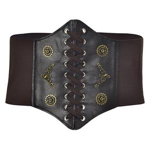 Tied Wasit Belt, High Waist Corset Cinch Belt, Steampunk Wasit Belt, Waist Cincher Belt Black, Elastic Wide Waistband Cinch Belt, Lace Up Wide Waistband Cinch Belt, #N18655