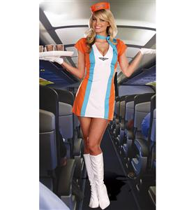 Coffee Tea Or Me Costume, Retro Stewardess Costume, 70s Airline Stewardess Costume, #N4772