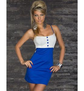 Sexy Bandage Formal Dresses, Sleeveless White Blue Slim Strap Dress, Dress With Button-Up Front, #N7788