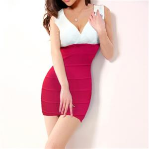 V-Neck Stretch Bodycon Dress, Sleeveless Color Block Package Hip Dress, White and Red Cocktail Evening Dress, #N9079
