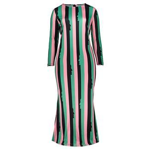 Long Sleeve Dresses for Women, Round Neck Maxi Dress, Plus Size Maxi Dress, Multi-color Stripe Maxi Dress, Slim Fit Maxi Dress, Round Neck Fashion Maxi Dresses, #N15751