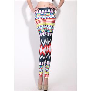 Geometric Printed Jeans, Colorful Dazzling Print Leggings, Color Graphic Geometric Jeggings, #L7765