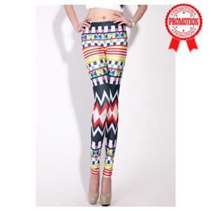 Color Graphic Geometric Leggings L7765
