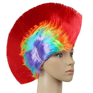 Fashion Modeling Punk Party Short Hair Wig, Funny Exaggerated Upturned Hair Wig, Colorful Short Hair Party Wig, Funny Cockscomb Hair Party Cosplay Wig, Halloween Masquerade Cosplay Party Accessory Wig, #MS19664