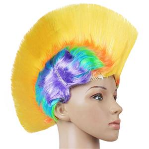 Fashion Modeling Punk Party Short Hair Wig, Funny Exaggerated Upturned Hair Wig, Colorful Short Hair Party Wig, Funny Cockscomb Hair Party Cosplay Wig, Halloween Masquerade Cosplay Party Accessory Wig, #MS19665
