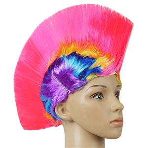 Fashion Modeling Punk Party Short Hair Wig, Funny Exaggerated Upturned Hair Wig, Colorful Short Hair Party Wig, Funny Cockscomb Hair Night Club Party Cosplay Wig, Halloween Masquerade Cosplay Party Accessory Wig, #MS19669