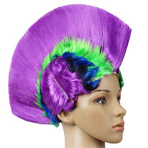 Fashion Modeling Punk Party Short Hair Wig, Funny Exaggerated Upturned Hair Wig, Colorful Short Hair Party Wig, Funny Cockscomb Hair Night Club Party Cosplay Wig, Halloween Masquerade Cosplay Party Accessory Wig, #MS19672