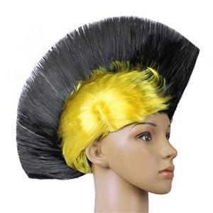 Fashion Modeling Punk Party Short Hair Wig, Funny Exaggerated Upturned Hair Wig, Colorful Short Hair Party Wig, Funny Cockscomb Hair Night Club Party Cosplay Wig, Halloween Masquerade Cosplay Party Accessory Wig, #MS19674