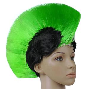 Fashion Modeling Punk Party Short Hair Wig, Funny Exaggerated Upturned Hair Wig, Colorful Short Hair Party Wig, Funny Cockscomb Hair Night Club Party Cosplay Wig, Halloween Masquerade Cosplay Party Accessory Wig, #MS19676