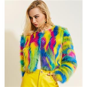 Fashion Long Sleeve Coat, Colorful Fur Coat, Fashion Coat for Women, Short Coat for Women, Open Front Short Coat, Round Neck Fur Coat, #N15774