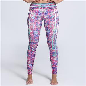 Classical Fish Scale Print Yoga Pants, High Waist Tight Yoga Pants, Fashion Colorful Fish Scale Print Fitness Pants, Casual Stretchy Sport Leggings, Women