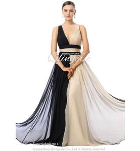 2015 Exclusive Black Apricot A-line Halter Sleeveless Tencel Chiffon Long Evening Dresses F30018
