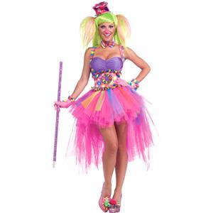 Colorful Clown Cutie Costume, Tutu Lulu Clown Costume, Adult Circus Clown Costume, #N8612