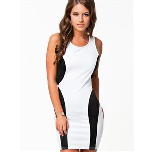 White and Black Round Neck Dress, Colour Block Cut Out Back Dress, Sleeveless Cross Back Bodycon Dress, #N8900
