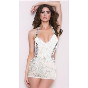 Sexy White Low Cut Halter Backless Sequin Bodycon Mini Dress N4057 aaacbd3b7
