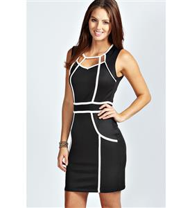 Cut Out Bandage Dress, Black and White Sleeveless Round Neck Dress, Contrasting Color Celebrity Dress, #N8784