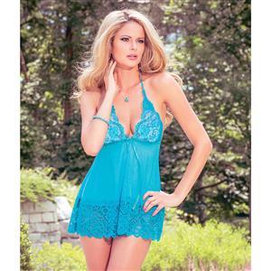 Mesh and Lace Babydoll Set, Blue V-neck Halter Babydoll, Open Back Mesh and Lace Babydoll, #N9145