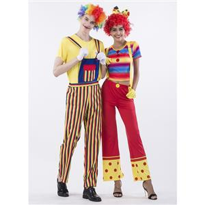 Couple Clown Costume, Clown Cosplay Costume, Clown Costume Couple, Happy Clown Costume, Halloween Couple Clown Costume, #N14769