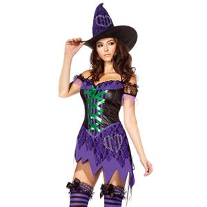 Crafty Cutie Costume, Womens Witch Costume, Witch Halloween Costume, Nitty Purple Witch Halloween Costume,Irregular Hem Purple Witch Costume, Patchy Style Purple Witch Costume#N5861