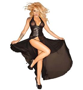 Crazy Sexy Black Halter Busk Closure Open Long Gown N10515