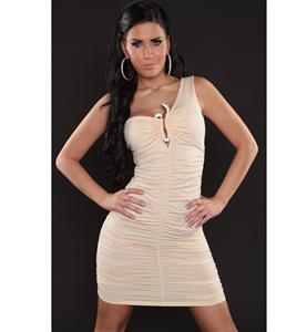 One Shoulder Ruched Dress, One Shoulder Dress with Rhinestone Buckle, One Shoulder Champagne Scrunch Dress, #N8441