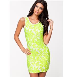 Fluorescent Green Lace Panel Dress, Crossed Straps Backless Bodycon Dress, O Neck Tank Sleeveless Mini Dress, #N8902