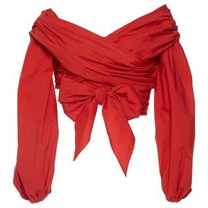 Red Crop Top, Waist Bow Blouses, Sexy Women