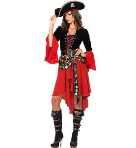 Pirate Captain Dress Costume, Sexy Black and Red Pirate Costume, Women