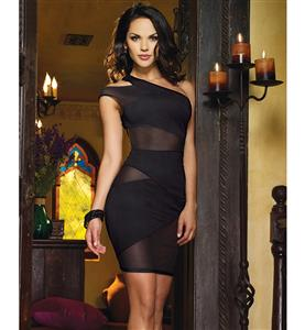 Mesh and Knit One Shoulder Dress, Power Mesh and Ponte Knit Asymmetrical Dress, Black Mesh and Knit Dress, #N8492