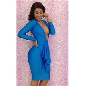 Blue Long Sleeve Dress, Deep V-Neck Bandage Dress, Hollow Back Bodycon Dress, #N6611