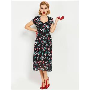 Retro Dresses for Women, Vintage Dresses for Women, Sexy Dresses for Women Cocktail Party, Casual Midi dress, Black Swing Daily Dress, Floral Print Swing Dress, #N14316