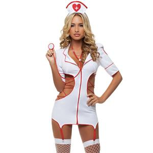 Nurse Cut Out Costume, Heart Nurse Costume, Flirty Bad Nurse Costume, #N6600