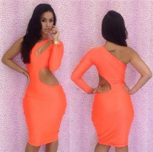 Cut Out Orange Dress, Cut Out Bodycon Dress, One Shoulder Cut Out Dress, #N6427