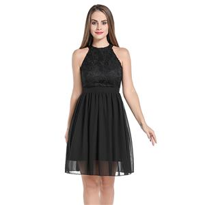 Elegant Lace and See-through Chiffon Sleeveless Cutaway Shoulders Cocktail Little Black Dress N20058