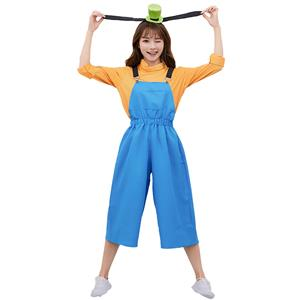 Overalls Costume, Orange Blue Costume, Cute Cosplay Costume, Cute Cosplay Set,The Parent-child Attire,Blue Bib Pants Cosplay Set ,#N19458