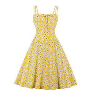 Lovely Daisy Print Midi Dress, Vintage Daisy Print Cocktail Party Dress, Fashion Casual Office Lady Dress, Sexy Tea Party Dress, Retro Party Dresses for Women 1960, Vintage Dresses 1950