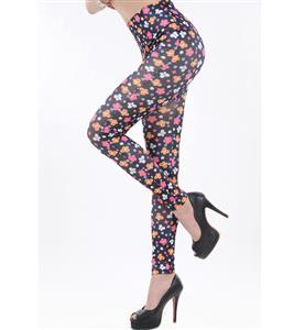 Flowers and Butterfly Print Jeans, Fashion Black Floral Leggings, Seamless Foral and Butterfly Jeggings, #L6990