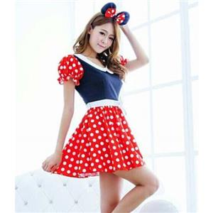 Women Sexy Milk Maid Minnie Mouse Costume, Halloween Outfit, Cute Cheap Mickey Mouse Fancy Dress Costume, #N9650
