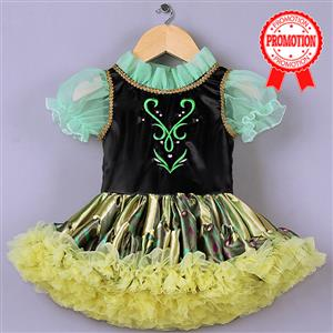 Cute Princess Dress, High Quality Green Mesh Lace Princess Dress, Black Satin Short Sleeves Princess Dress, Yellow Organza Princess Dress, #N9581