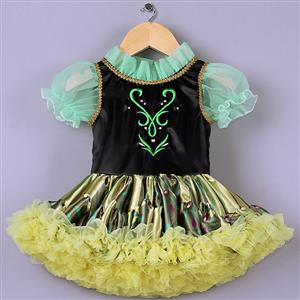 Cute Princess Dress, High Quality Green Mesh Lace Princess Dress, Black Satin Short Sleeves Princess Dress, Yellow Organza Princess Dress, #N9581