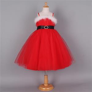 Cute Red Christmas Princess Slip Dress N9656
