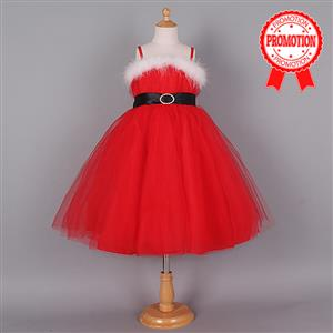 Cute Red Slip Dress, Cheap Christmas Princess Dress, Red Organza Dress  #N9656