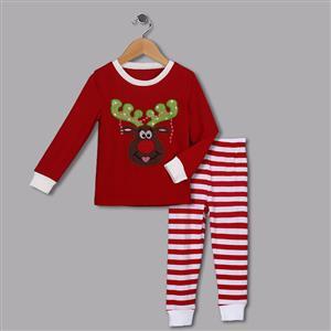 Cute Red Round Neck Reindeer Print Kid Christmas Suit N9810