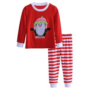 Fashion Red Kid Outfits, Round Neck Baby Suit, Cute Red Penguin Print Kid Costume,Cheap High Quality Christmas Outfits, #N9814