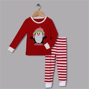 Cute Red Round Neck Penguin Print Kid Christmas Suit N9814