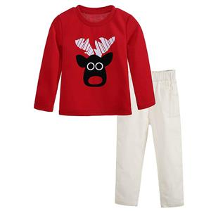 Fashion Red Kid Outfits, Round Neck Baby Suit, Cute Red Cow Print Kid Costume,Cheap High Quality Christmas Outfits, #N9817