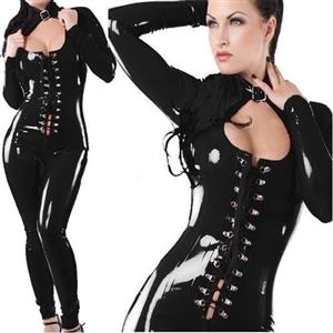 Vinyl Wetlook Bodysuit, Cutout Long Sleeve Jumpsuit, Black Criss-cross Lace-up Bodysuit, #N8502